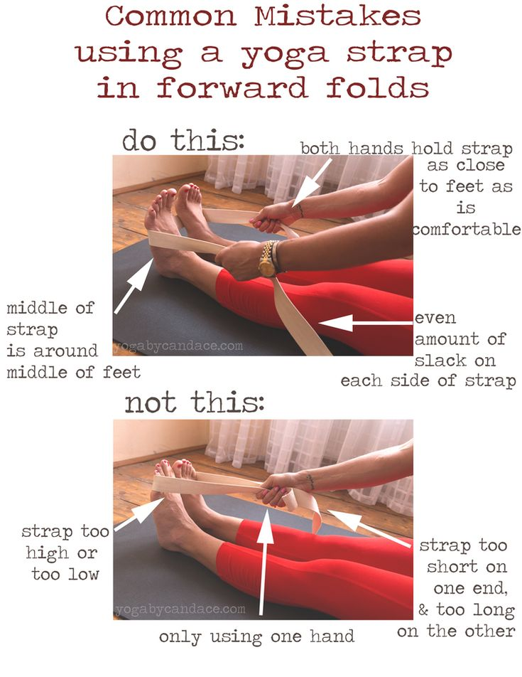 Pin it! Common mistakes using a yoga strap with forward folds