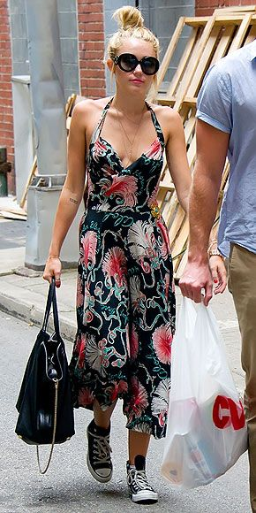 love the floral dress with the converse