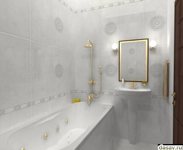 Белая плитка для ванной комнаты, в результате красивые дома