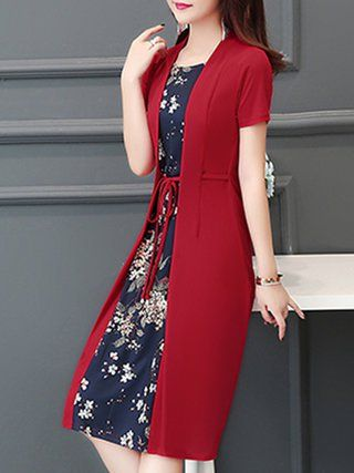 132bfa17faa Plus Size Women Daytime Short Sleeve Paneled Floral Dress in 2019 ...