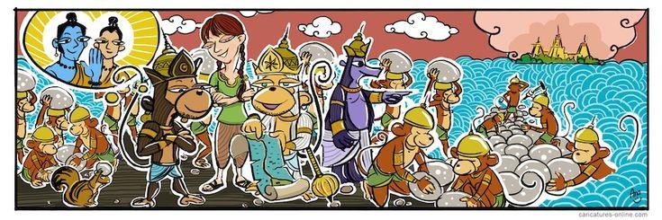 India - Srilanka Sea Bridge Cartoon