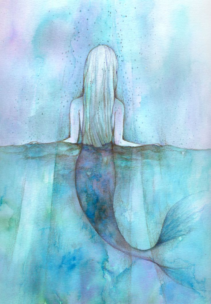 'I think I love the rain because I am a Mermaid who lives too far from the Ocean' Watercolor Print