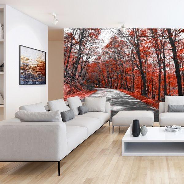 Fotomural De árboles Vestidas De Rojo Ideal Para Decorar El Salón De Tu Hogar Decoraciones De Casa Hogar Murales Pared