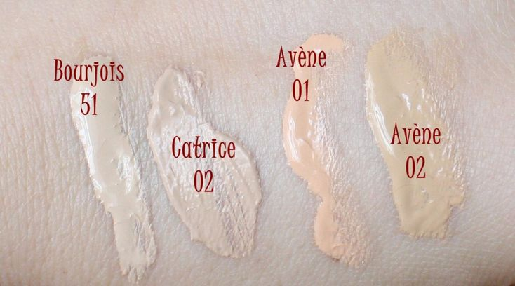 Foundation swatches - Bourjois Healthy Mix 51, Catrice 02, Avene 01 & 02