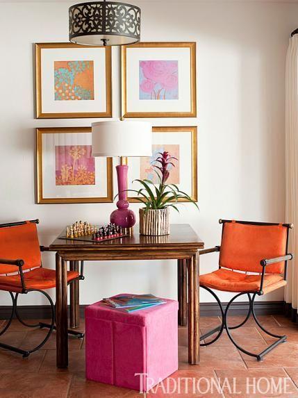 images  pink  orange interiors  pinterest house tours orange pink