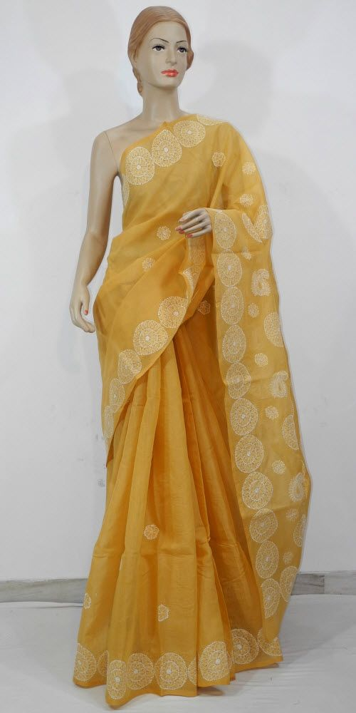 Lucknowi Chikan Saree (W/B-Cotton) 11722