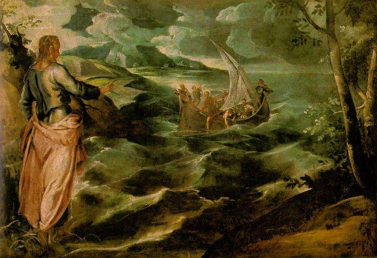 Cristo en el mar de Galilea, Tintoretto 1575-80, Washington National Gallery