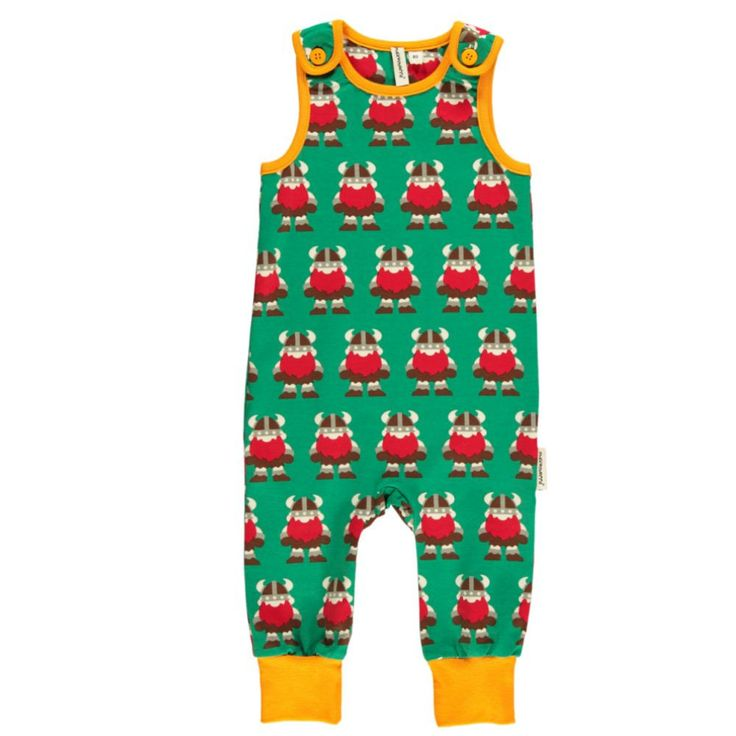 Forest green Maxomorra playsuit with large repeat pattern of Vikings. The Viking is another fabulous print from Maxomorra, which looks super cute as a playsuit. Great layering piece. Stand-out from the crowd. FREE UK postage over £30 or visit our shop