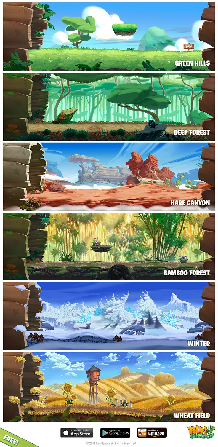 First Thought - I like how this image provides a diverse range of views of a very similar environment. This could be reflected in animations via a change of seasons etc.