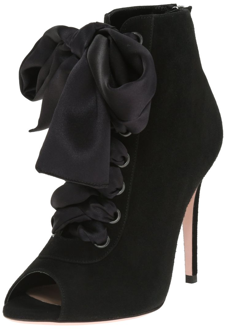 Sebastian Women's S6921 Dress Pump, Suede/Black, 36.5 EU/6 M US. Italian-made peep-toe suede bootie featuring lace-up vamp with metallic eyelets and oversized ribbon bow. Covered heel. Zip entry at back.