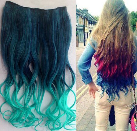 Uniwigs Ombre Dip-dye Color Clip in Hair Extension 45-50cm Length Dark Green to Light Green Loose Curl for Teen Girls Tbe0010 uniwigs,http://www.amazon.com/dp/B00DZCMHGU/ref=cm_sw_r_pi_dp_Iyg7sb1BQ2NJ2EX6