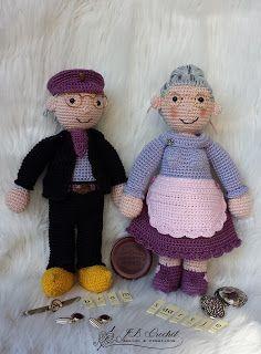 Gehaakte Opa Bram en Oma Saartje  Crochet Grandpa bram and Grandma Saartje. Made and designed by JB Crochet Design & Creations