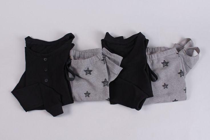 ✒ pimisu, t-shirt, longsleeve, leggings, black, stars, blend, gray ✒ podkoszulek, leginsy, czarny, melanż, szary