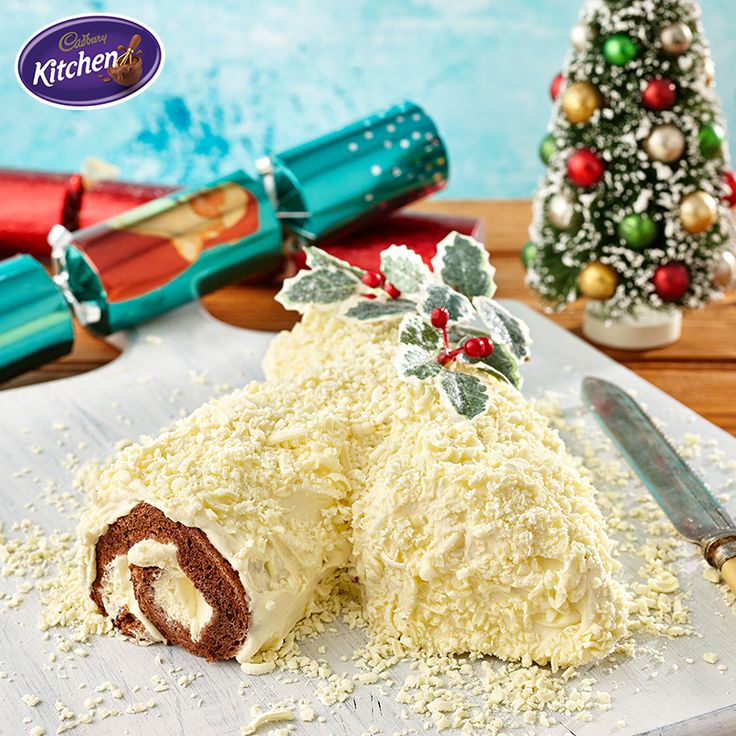 Just one more sleep! No matter who's hosting tomorrow this White Bûche de Noël (Christmas log) is the most famous Christmas dessert in France and is perfect for your big day!   #recipes #desserts #baking #cake #chocolate #CADBURY #christmasrecipes