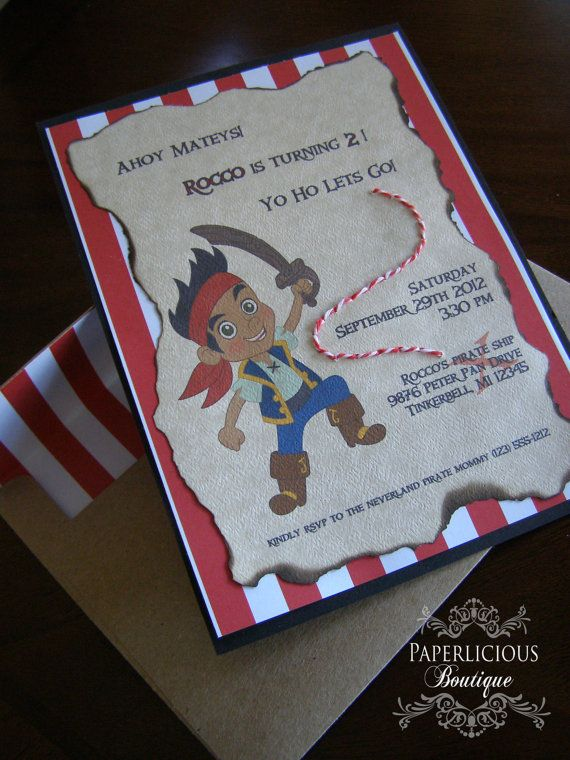 Our guests loved getting these! Jake and The Neverland Pirates Invitation by Paperlicious Boutique on Etsy
