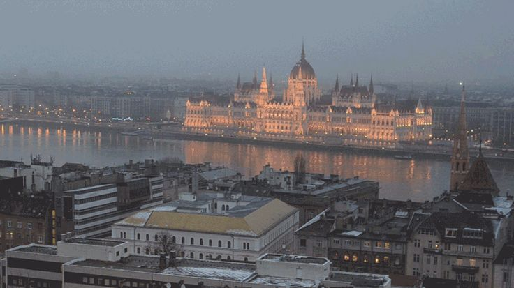 Budapest in motion on a winter night