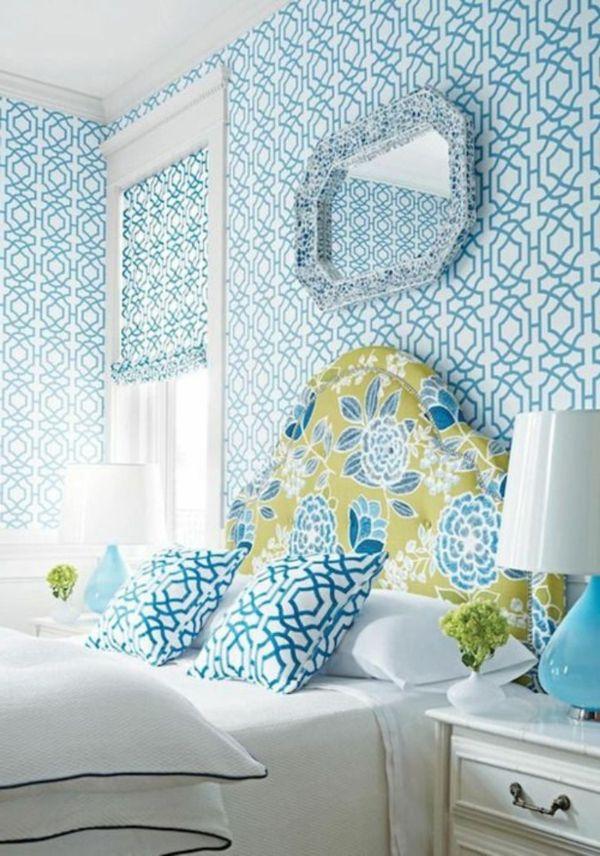 papier peint graphique, motifs bleus géométriques