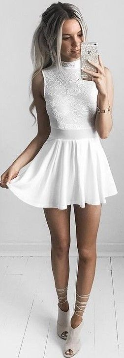 #summer #feminine #outfits | Ivory Lace Roses Romper