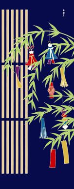 Japanese tenugui (washcloth) with Kyoto townhouse and tanabata star festival decoration design 手ぬぐい