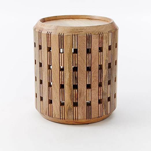 great wood drum side table with cut out detail