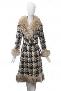 Vintage vlněný kabát s koženým límcem 36 38