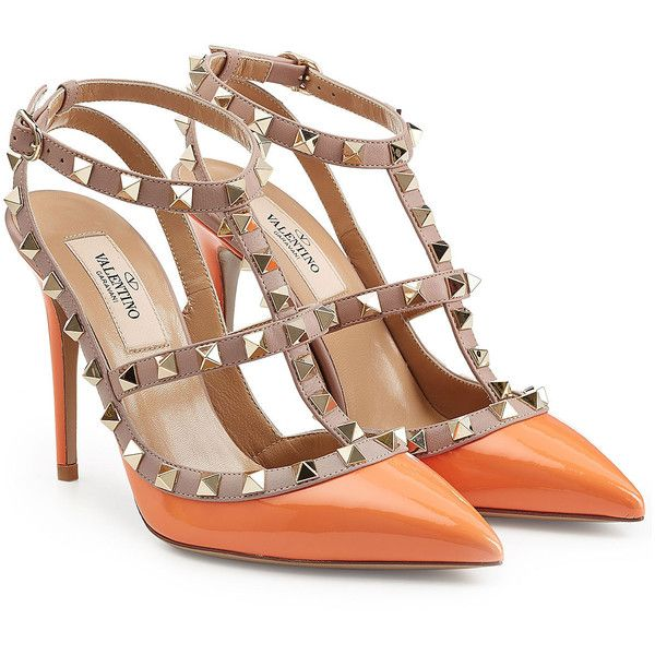 Valentino Rockstud Patent Leather Pumps ($785) ❤ liked on Polyvore featuring shoes, pumps, heels, orange, valentino, valentino pumps, patent leather shoes, orange shoes, heel pump and orange patent shoes