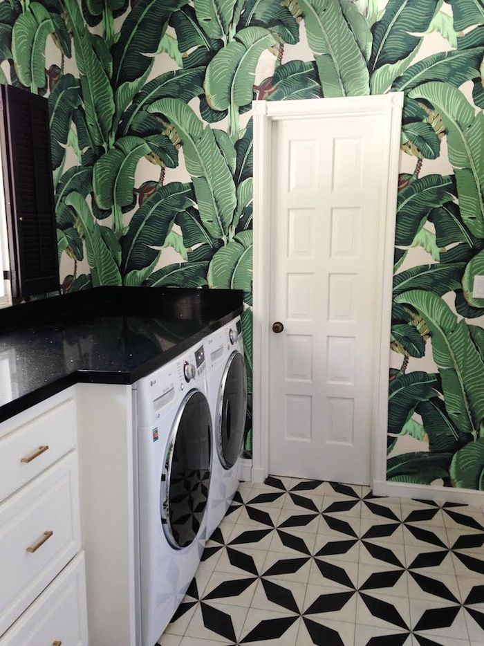 bold black and white laundry room with tropical wall on laundry room wall covering ideas id=24989