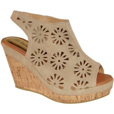 $38, Beige Suede Wedge Sandals: Bucco Beige Cutout Slingback Wedge Sandals. Sold by Overstock. Click for more info: http://lookastic.com/women/shop_items/58581/redirect