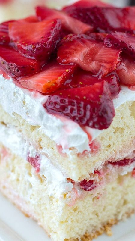 Strawberry Shortcake ~ Easy recipe with 2 gourmet layers of cake filled with whipped cream and sliced strawberries.