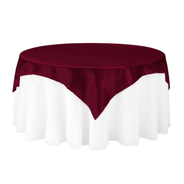 72 In Square Satin Overlay Burgundy Wedding Table ToppersWedding