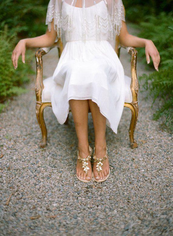 Bohème mariage chaussures sandales en laiton
