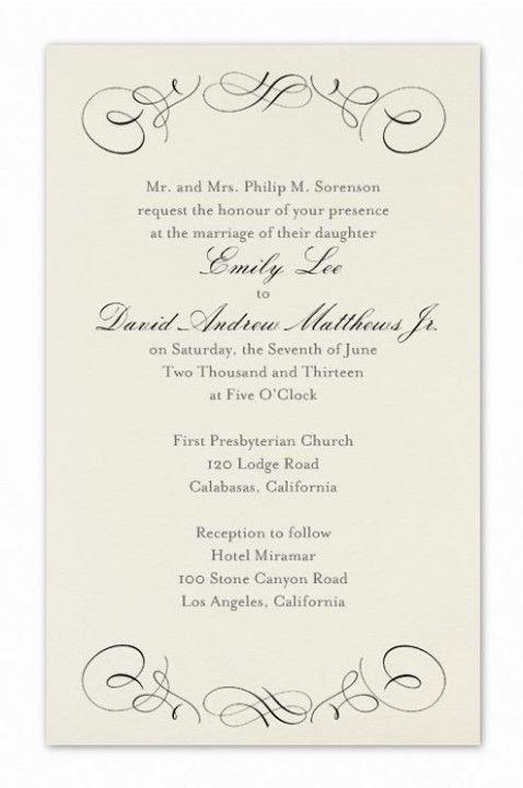 Formal Wedding Invites Wording