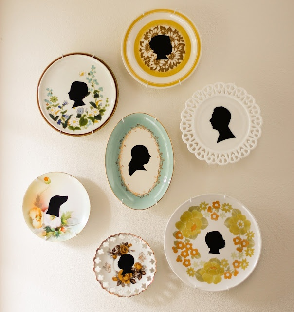 Beautifully Rooted: silhouette plates  Uses thrifted plates and black contact paper.