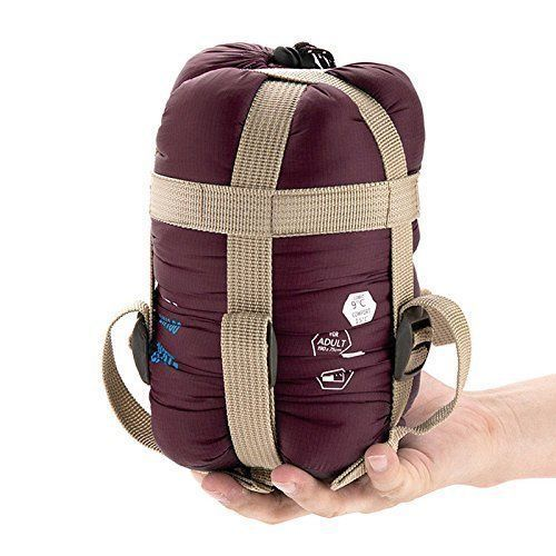 ECOOPRO Lightweight Waterproof  Compact Warm Sleeping Bag For Camping, Wine Red #ECOOPRO