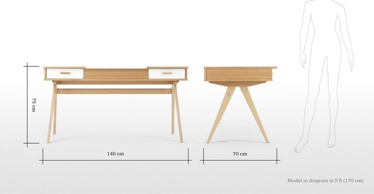 Designed by Steuart Padwick, the Stroller desk in oak and white adds a touch of sophistication to your office or living room.