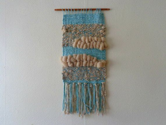 Green Aqua Wall Hanging by CrisalidaTextile on Etsy