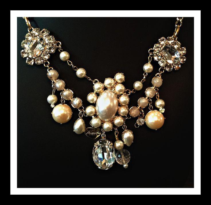 collana di perle con pietre di strass Swarovski