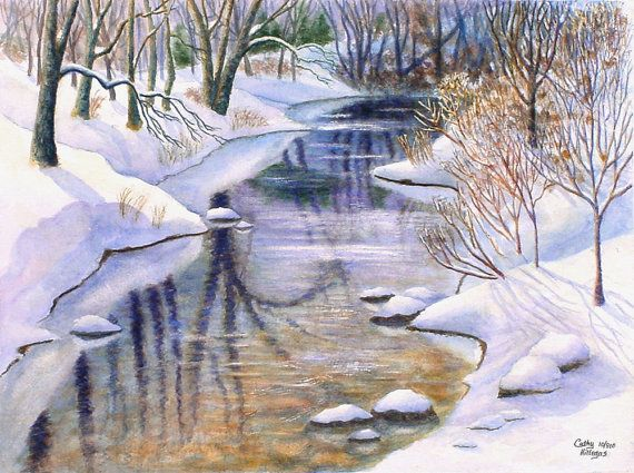 Winter landscape art watercolor painting print, snow creek, by Cathy Hillegas, Forest Reflections, Winter, $20.00