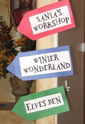 Santa's Workshop = crafts, Elves Den = games, Mrs. Claus' Kitchen = cookie decorating, Winter Wonderland = face painting