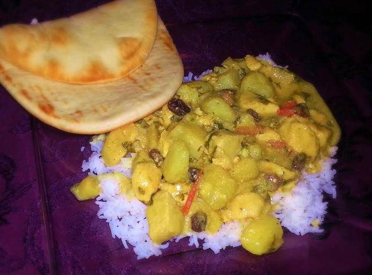 Happy Family Chicken Curry #rice #easy #apples #curry #cilantro #yogurt #Indian #raisins #international #cocnut milk #justapinchrecipes