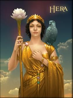 This is Hera, the Greek goddess of home and marriage. Her parents are the Titan Cronus, and his wife and sister, Rhea. She is Zeus' wife, and gets jealous of not only his other wives, but also other mortals who cross her. Her sacred animals are the peacock and the cow, and her Roman side is Juno. CC