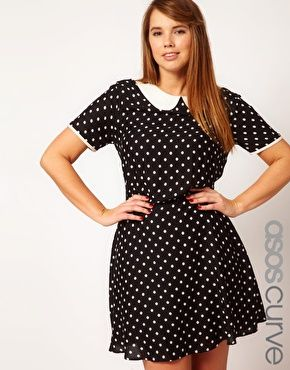 Enlarge ASOS CURVE Exclusive Tea Dress In Spot. Classy. I wish this were still for sale...