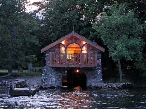 The Boathouse at Knotts End, self catering Ullswater, night time, Lakes Cottage Holidays