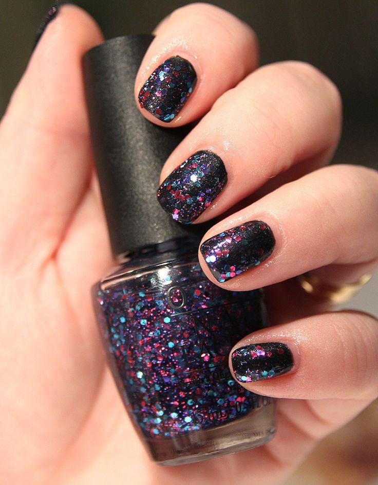 opi over black nail
