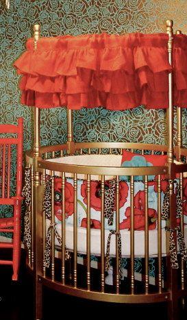 Round Crib Red Burlap Valance by PaulaAndErika on Etsy
