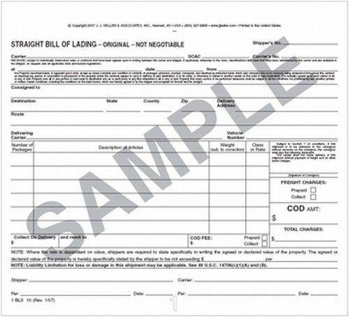 Printable Sample Bill Of Lading Form Form
