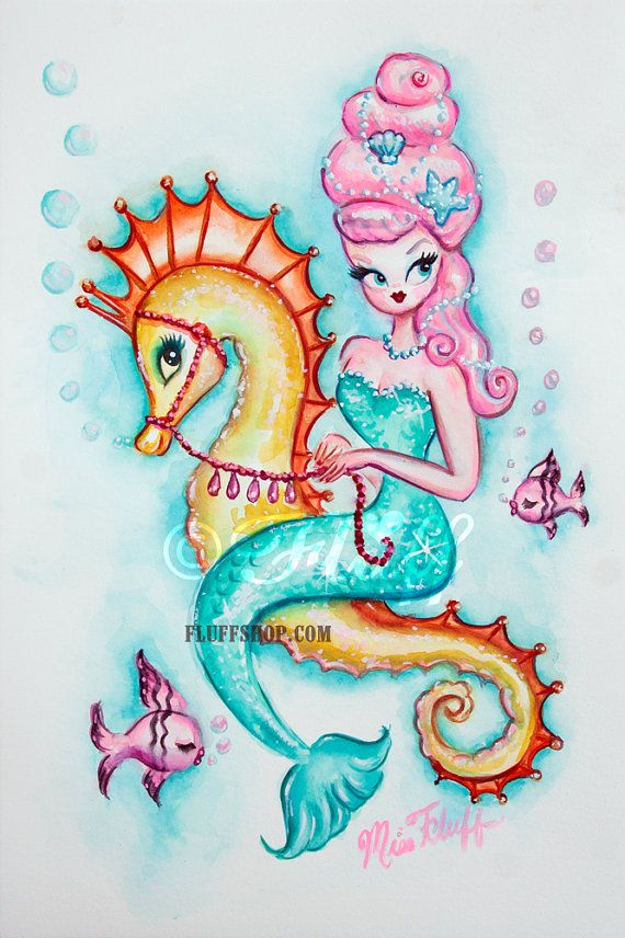 Mermaid with Pink Bouffant Original Painting by Miss Fluff! Inspired by vintage mermaid illustrations and decals of the 1950's