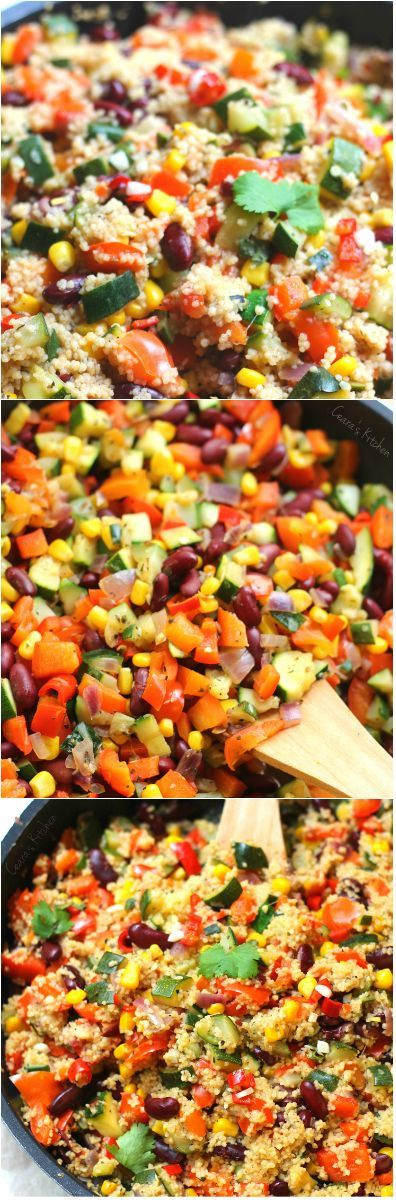A bright Spring Vegetable Couscous Stir Fry filled with colorful vegetables and Mexican flavor. Enjoy as a side or a main dish!