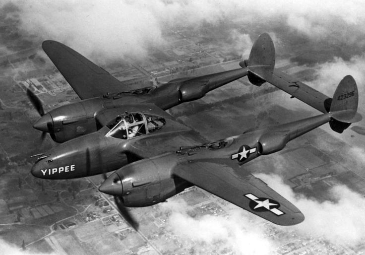 waffenss1972:  Lockheed P-38J «Lightning» heavy two-fuselage fighter of the U.S. Air Force flying in the sky