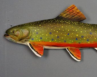 Brook Trout Carved Fish Carved Fishing Gift by DavydovArt Gift for Fisherman Wood Carving Wooden Sculpture Wall Art OOAK Carving Red White